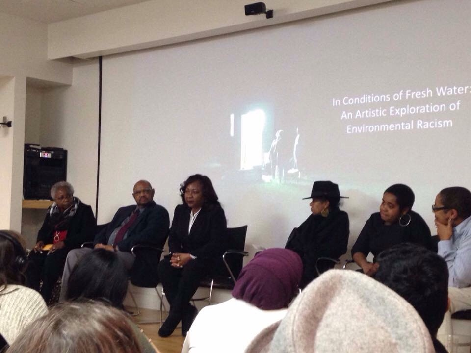 Opening panel of In Conditions of Fresh Water: An Artistic Exploration of Environmental Racism at Duke Center for Documentary Studies, March 2, 2017. From left: Brenda Wilson, Omega Wilson, Catherine Coleman Flowers, Torkwase Dyson, Danielle Purifoy, Courtney Reid-Eaton (exhibit curator). Photo courtesy Audrey Shore.