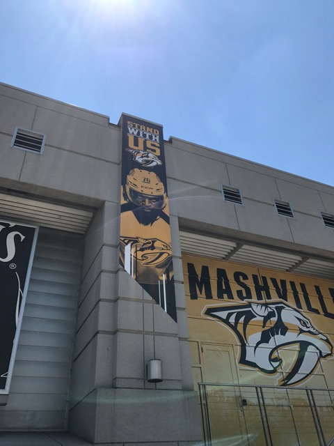 PK Subban's face prominently displayed on the Nashville Predators banner at Bridgestone arena. Photos by the author.