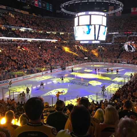 Inside Nashville's Bridgestone Arena, during Game 3 of the Predators first round playoffs against the Chicago Blackhawks.