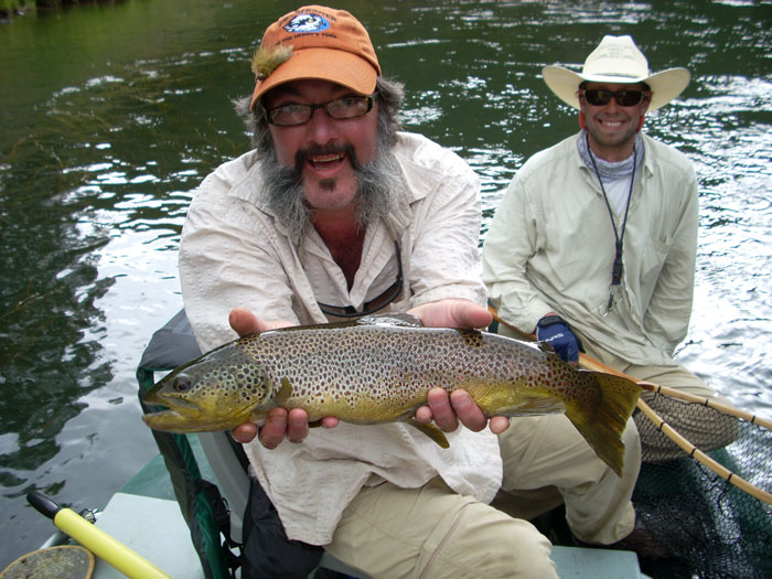 'The Slide' of Henry's Fork of the Snake River, near Ashton Idaho Fish: a whopping 10 pound brown trout. Courtesy of Larry Keel.