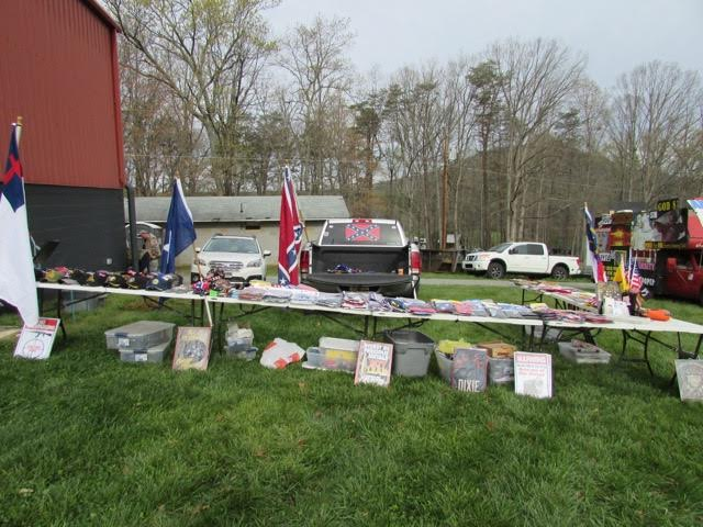 Oath Keepers works to maintain a reputation for racial inclusion, but Confederate flags and other paraphernalia were conspicuously displayed at a merchant's table at the North Carolina Oath Keepers Summit in early April.