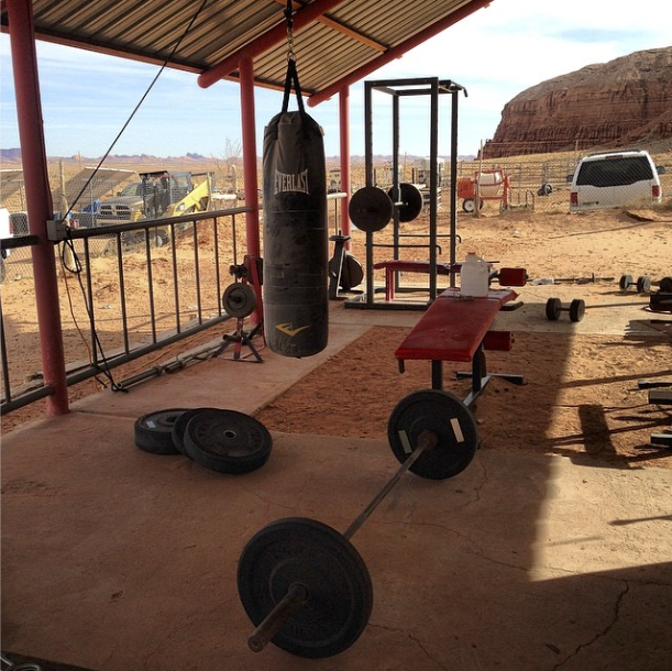Doug Yazzie's home gym on the Navajo Nation