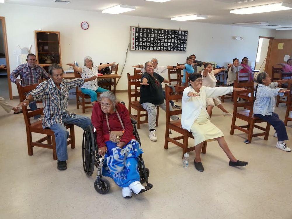 Elders at Zuni Pueblo practice Chair Yoga.