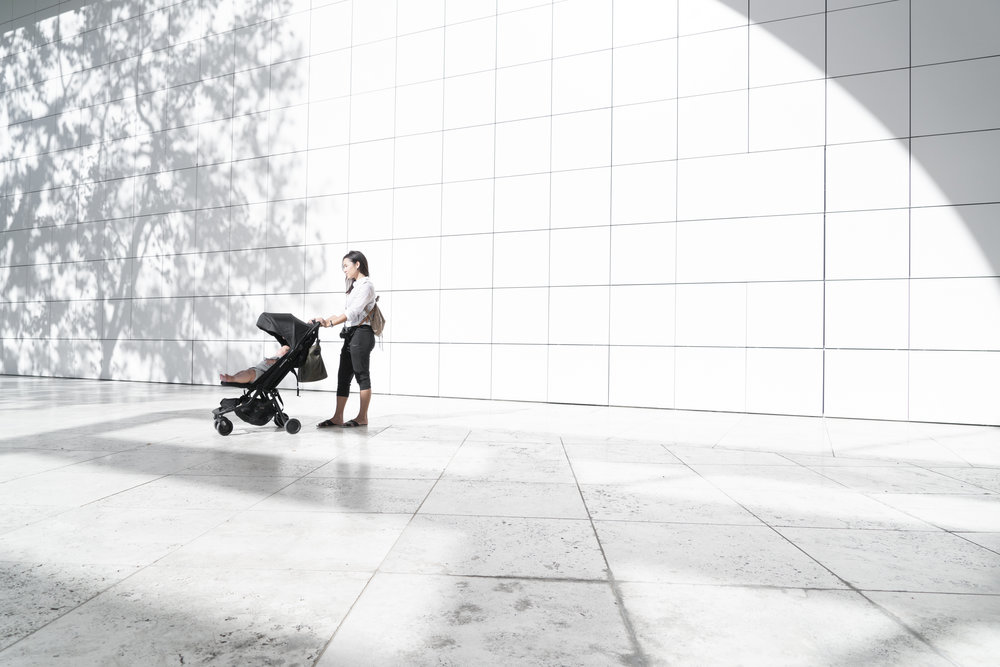 Our Mountain Buggy Nano stroller at the Getty Museum in Los Angeles.