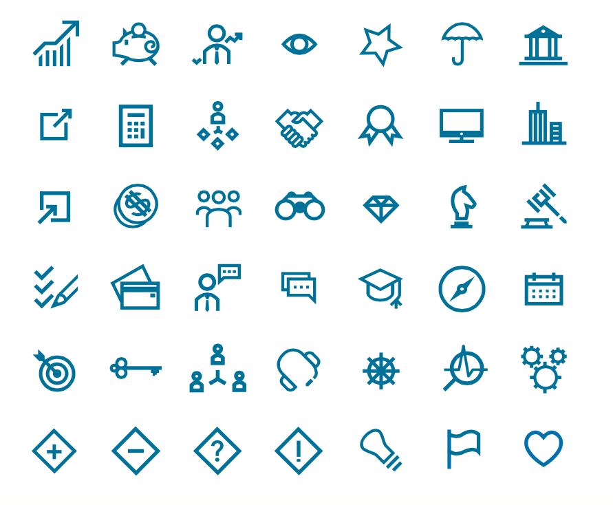 Création d'icônes propriétaires adaptées à l'identité et aux thématiques du cabinet.
