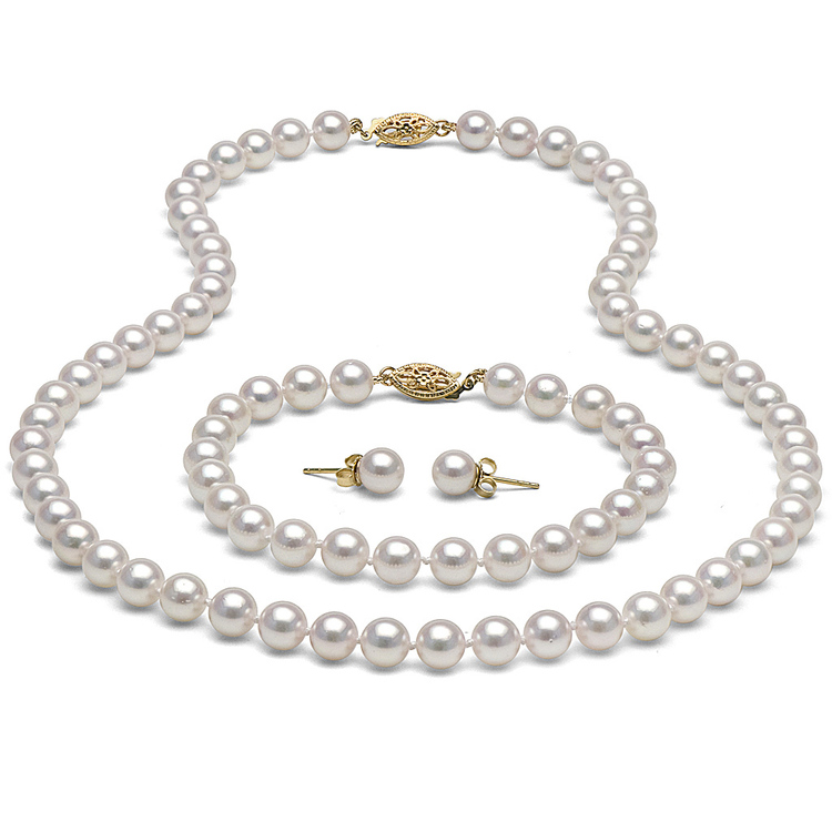 Freshwater Pearl and 18K Gold Gift Set