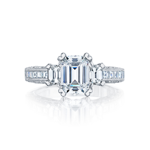 Emerald Cut 3 Diamond Ring Set