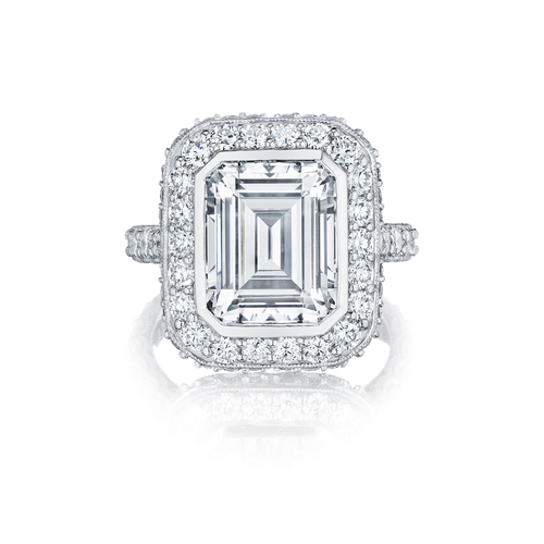 Emerald Cut Center Diamond in a Halo Setting