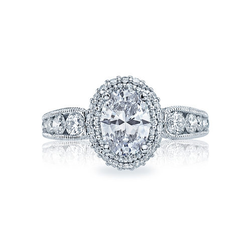 Ocal Cut Center Diamond with a Halo