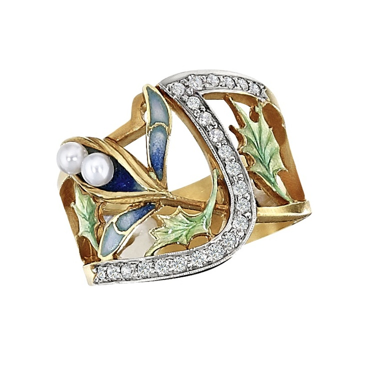 18k yellow gold, diamond, and pearl ring with green and blue enamel leaves and petals.