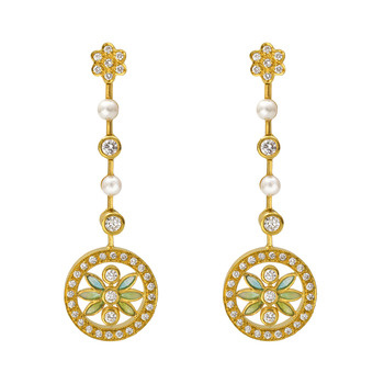 18k yellow gold, diamond, pearl, and enamel drop earrings.