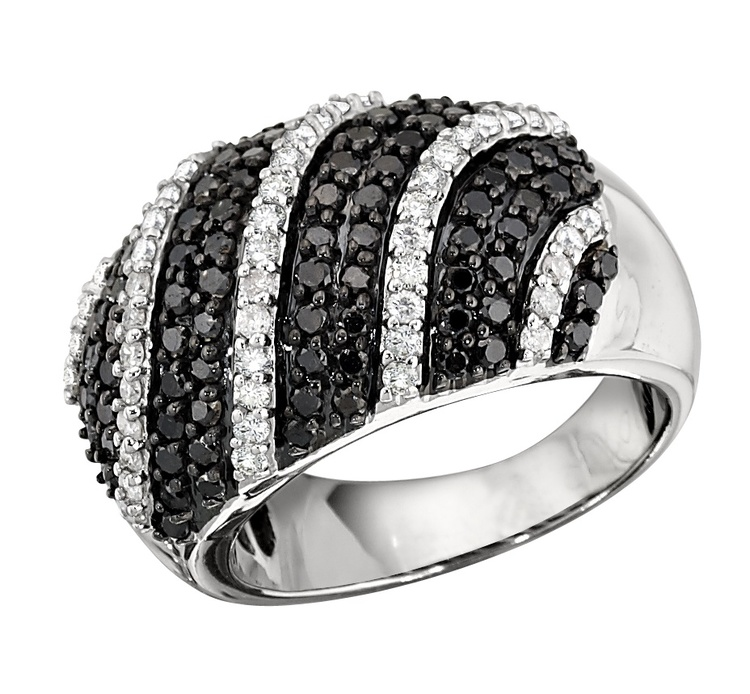 Black and white diamond dome ring