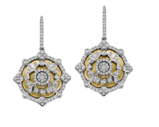 18k brushed yellow and white gold medallion earrings set