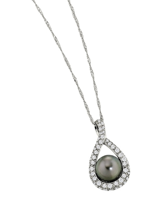 Black South Sea pearl in an oval set in diamonds