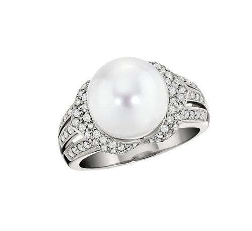 Pearl, 14k white gold,  and diamond triple-shank ring