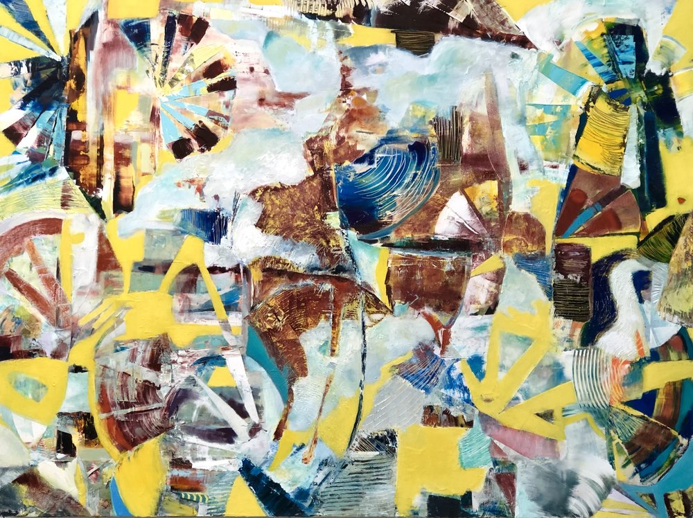 Using her piece  Finding Peace in Chaos  from her new series ' The State of Things ' as an example, Dee Cohen shares the birth of a painting. Through this series of images, you will be able to see the process of her painting and methodology.