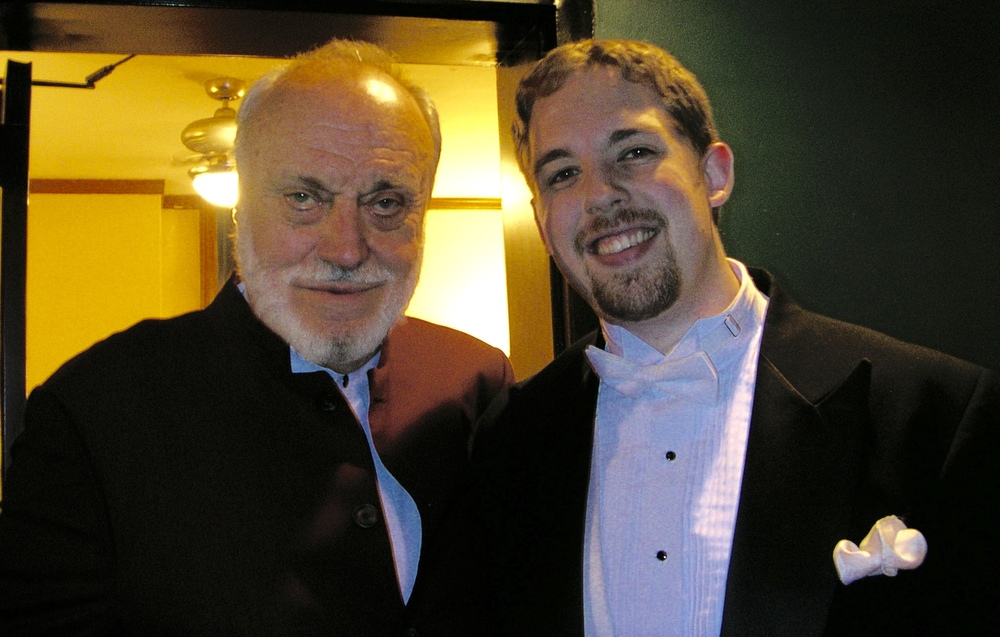 Kurt Masur and Brett Mitchell after performing together at the Manhattan School of Music on March 12, 2004.