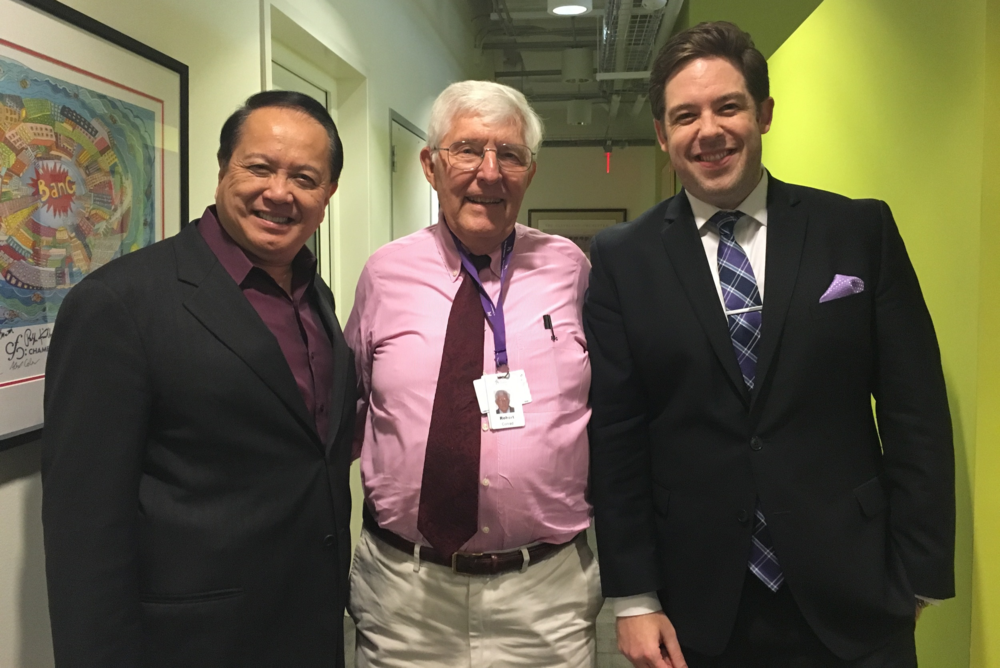 Jahja Ling (left), Robert Conrad (middle), and Brett Mitchell (right) spoke at the WCLV studios in Cleveland.