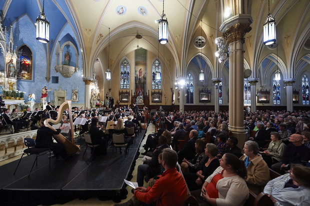 The Cleveland Orchestra appeared at Our Lady of Lourdes Church during its 2015 residency in the Broadway Slavic Village neighborhood of Cleveland. This year the group will give a free concert in the Hough neighborhood. (Photo by Roger Mastroianni)