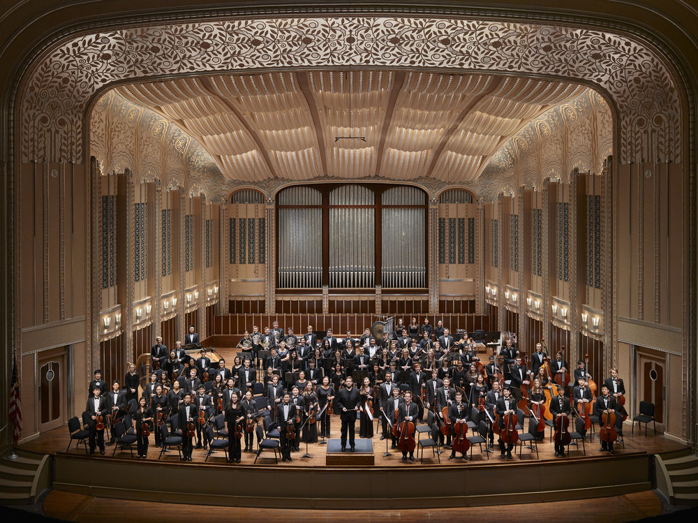 The Cleveland Orchestra Youth Orchestra and music director Brett Mitchell onstage at Severance Hall. (Photo by Roger Mastroianni)