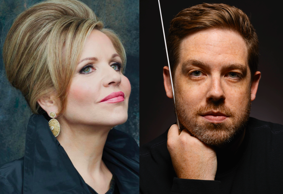 Soprano Renée Fleming will join Brett Mitchell for his first concert as Music Director of the Colorado Symphony in September 2017. (Photo of Ms. Fleming by Decca/Andrew Eccles. Photo of Mr. Mitchell by Roger Mastroianni.)