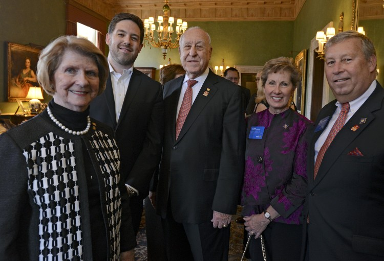 Brett Mitchell with Judy and John Germ (Rotary International president) and Lynn and Ken Schupert (Rotary trustee vice chair) at a Severance Hall reception before The Rotary Foundation's Centennial Concert. (Photo by Peggy Turbett)