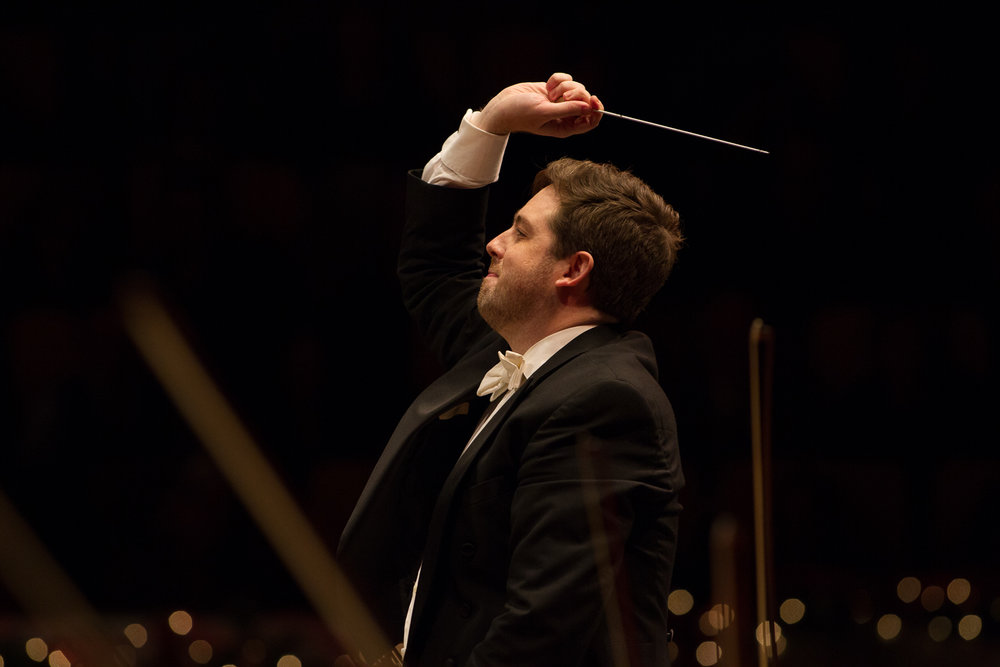 Brett Mitchell conducts the Colorado Symphony at Boettcher Concert Hall in December 2016. (Photo by Brandon Marshall)