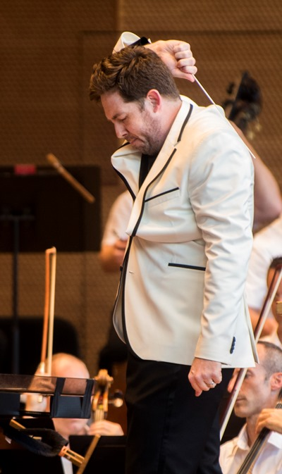 Brett Mitchell leads the Grant Park Orchestra on Wednesday, July 19 at the Pritzker Pavilion in downtown Chicago.