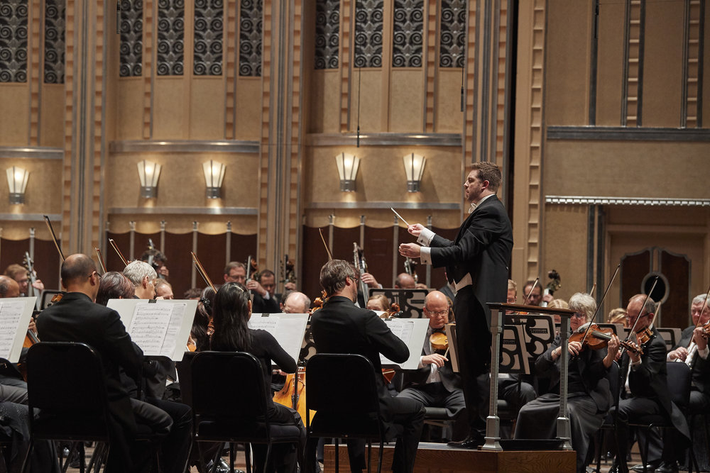Brett Mitchell (pictured here in performance with The Cleveland Orchestra) will lead the Cleveland Institute of Music Orchestra's first Severance Hall performance of the 2017-18 season on Wednesday, October 4. (Photo by Roger Mastroianni)