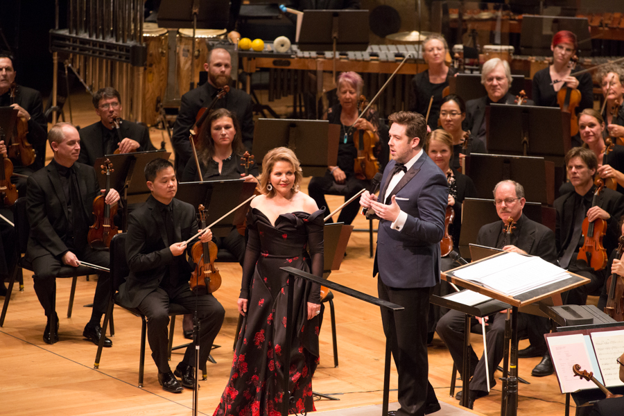 Brett Mitchell and the Colorado Symphony welcomed soprano Renée Fleming for his inaugural concert as Music Director at Boettcher Concert Hall on September 9, 2017. (Photo by Brandon Marshall)