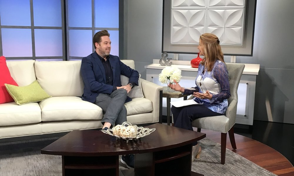 Brett Mitchell speaks with Jacquie Palisi on the set of  Colorado & Company . (Photo by Nick Dobreff)