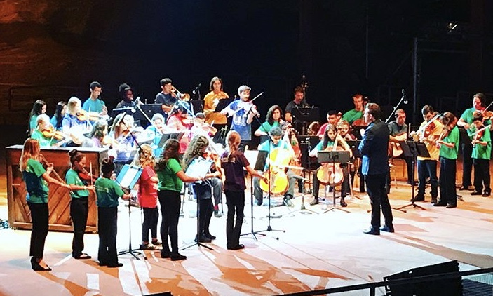 Brett Mitchell leads Yo-Yo Ma and El Sistema Colorado in of Bach's  Air on a G String  at Red Rocks Amphitheater in Morrison, CO. (Photo by Jose Mena)