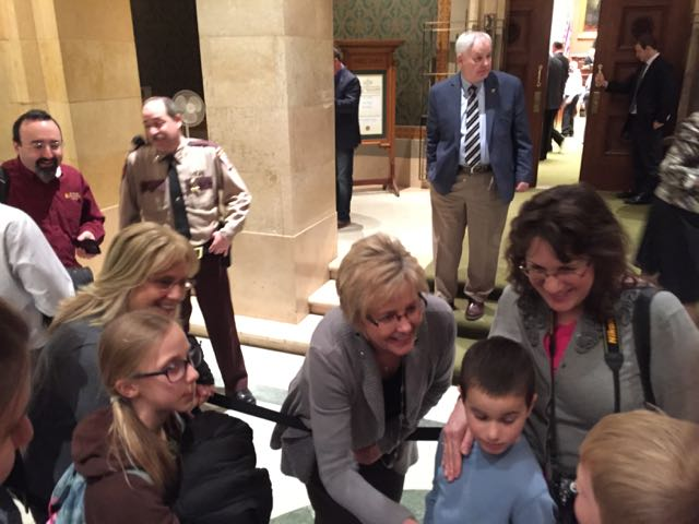 Representative Lohmer visiting with constituents at the Capitol