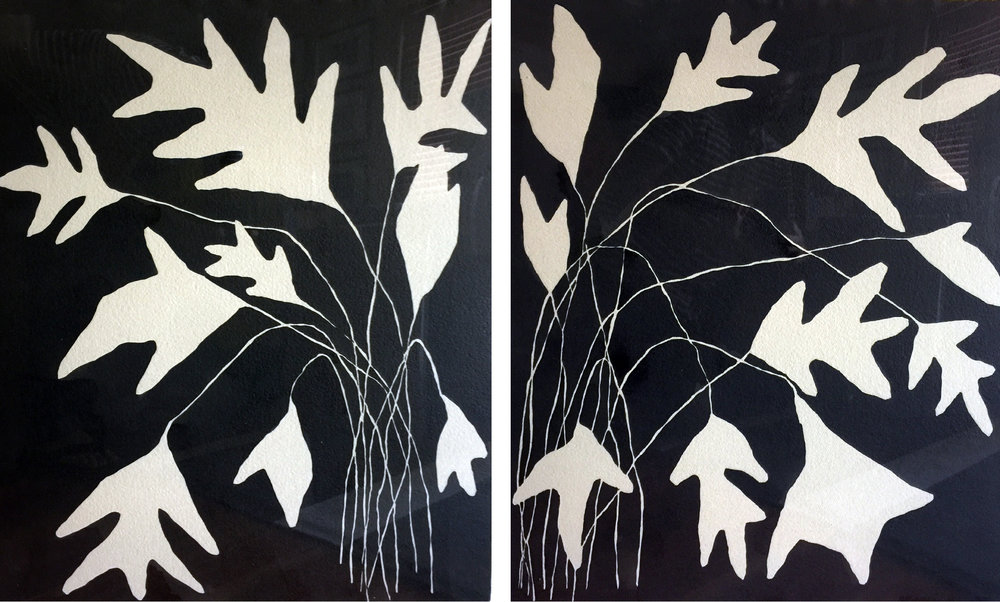 Ink Drawing Diptych by Kate Roebuck
