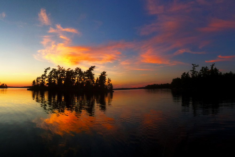The sun sets on Saganaga Lake in Minnesota's Boundary Waters