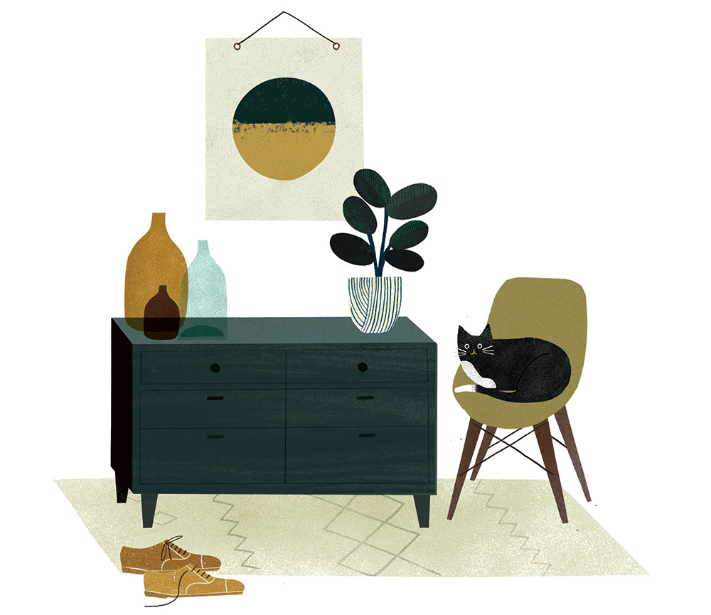 Trying out the theory that when you draw the things you want, you satisfy the same feelings as when you  buy  the things you want.      Here are some things I've wanted to covet for a while..(feat, my cat Toulouse)      @west elm   Rug and dresser,   @Charles and Ray Eames   chair,   @Margaret Howell   shoes and beautiful   @Amy van Luijk   ceramics