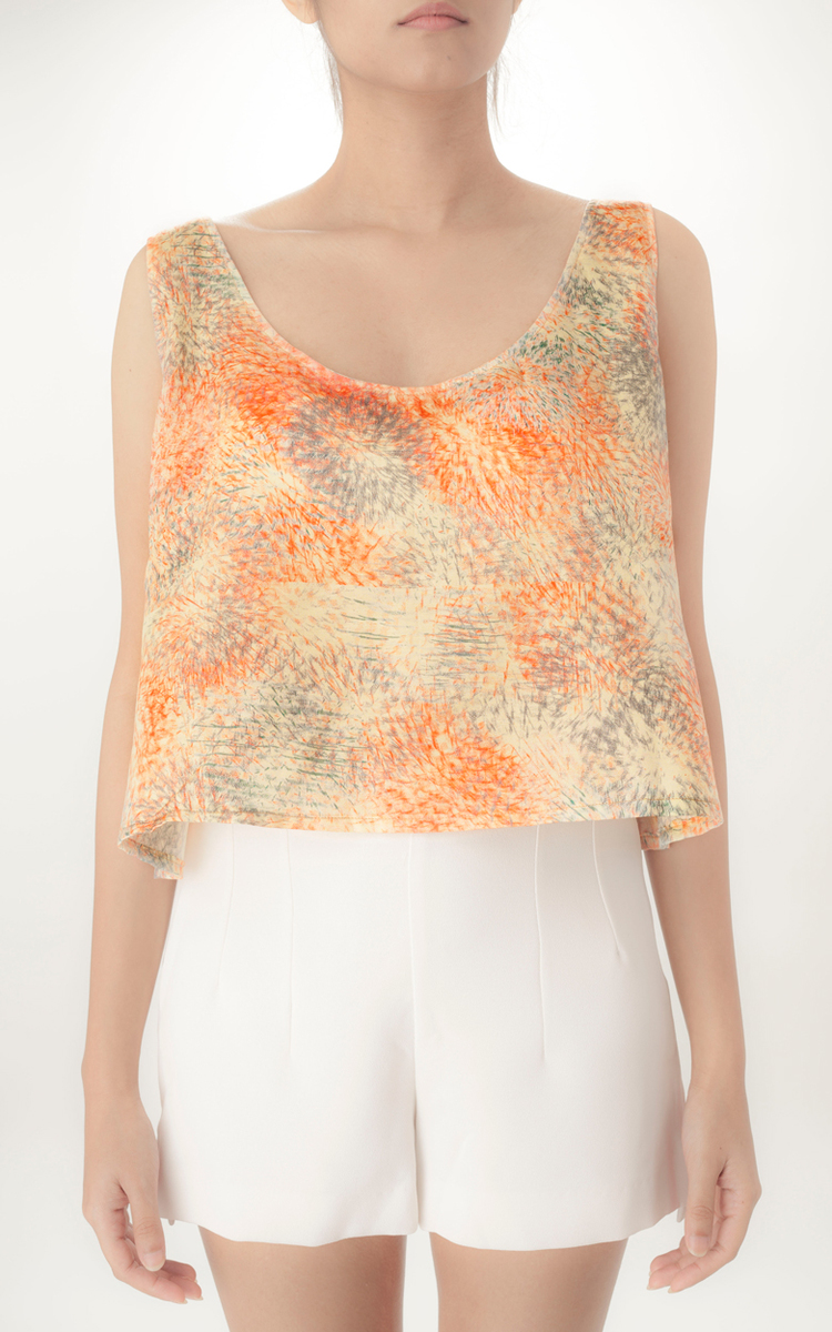 SLEEVELESS CROP TOP   You can't help but love this crop top in our 'Abstract Floral' print. Made from lightweight Cotton Silk fabric this piece requires delicate handling. The design features a slightly scooped back.  Code : 009SCT