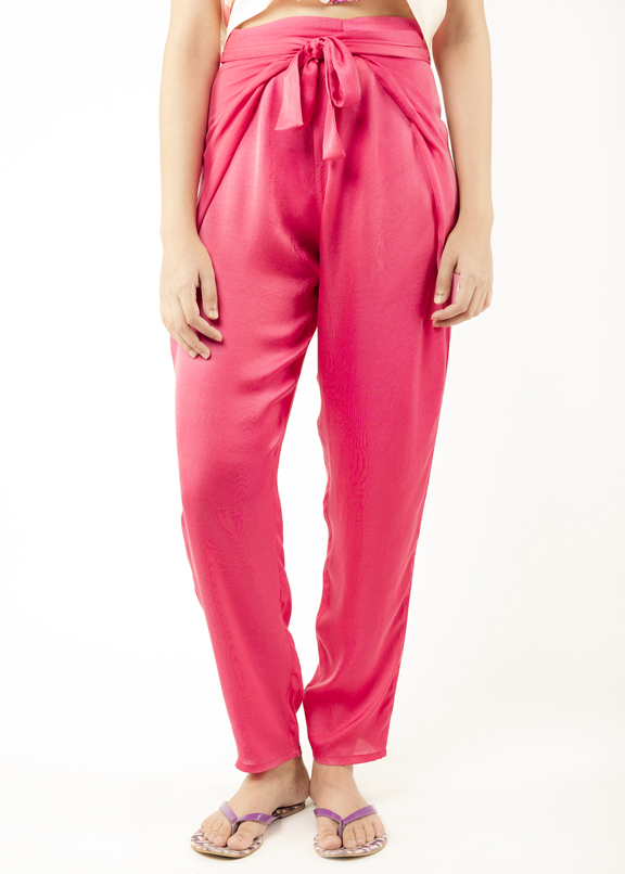 WRAP PANTS   If you want comfort and chic, these pants are perfect! They are light, soft and super stylish. Made from the softest cotton silk fabric and dyed in the hottest pink. Dry Clean Only  Code : 0035WAP