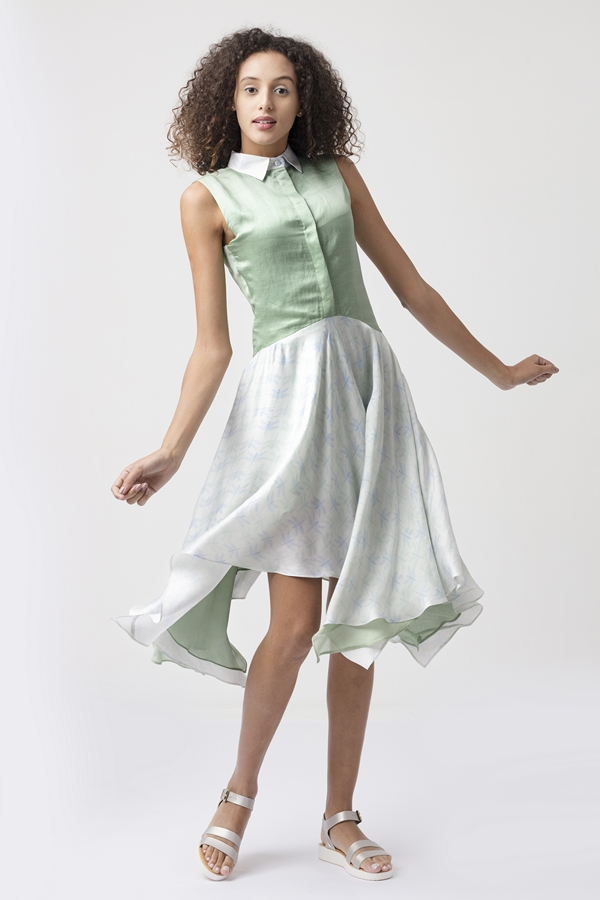 MABEL DRESS  The top of this dress has a shirt collar and a concealed placket with buttons. The bottom skirt transitions into a double layered handkerchief hemline. Our 'dragonfly' print made from satin modal is used for the top, and the bottom layer is a soft modal in fern green.   Dry Clean Only.           Size :  S, M, L, C  Code :  0089LDH