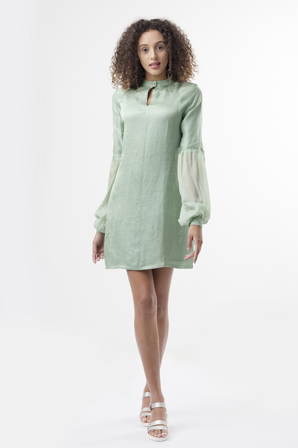 olive mini DRESS  A mini shift dress with a relaxed fit, made from soft satin linen. The sleeves are voluminous and translucent, made from chiffon they fall generously over a cuff. There is a mandarin collar with a single fabric button closure in the front. The front has panels at the shoulder, which add a nice detail to the dress.   Dry Clean Only.           Size :  S, M, L, C  Code :  0088MDS