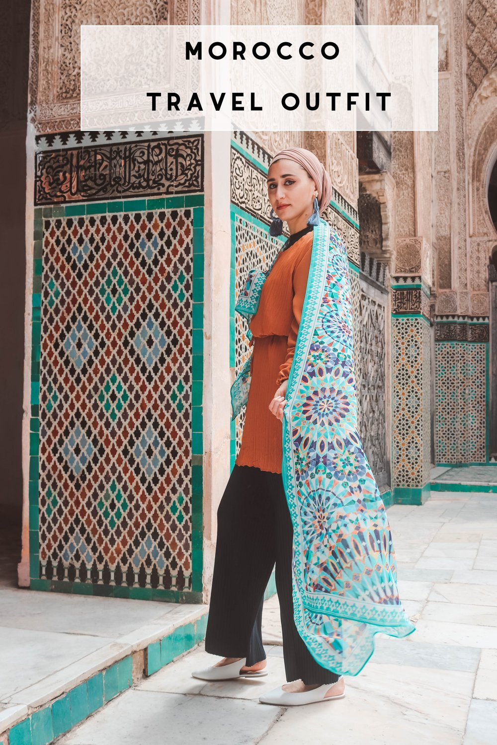 fez-morocco what to wear in morocco , morocco outfits karama by hoda arabesque scarf, moroccan scarf, arabesque lifestyle, boho chic boho outfit, geometric scarf mosaic scarf moroccan decor morocco decor nyc  morocco travel outfit