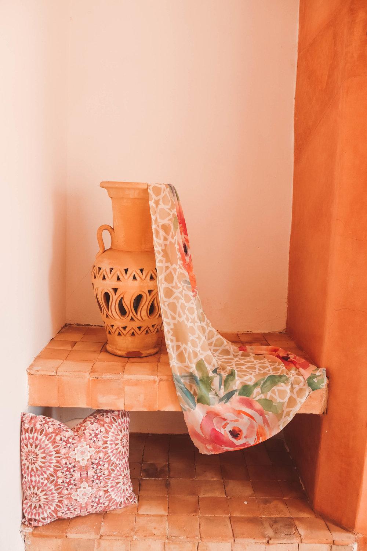Arabesque Moroccan Wall, Fez- How to create a Moroccan Accent Wall. Pink Salmon Moroccan Wall , Velvet Moroccan Pillows- Karama by Hoda