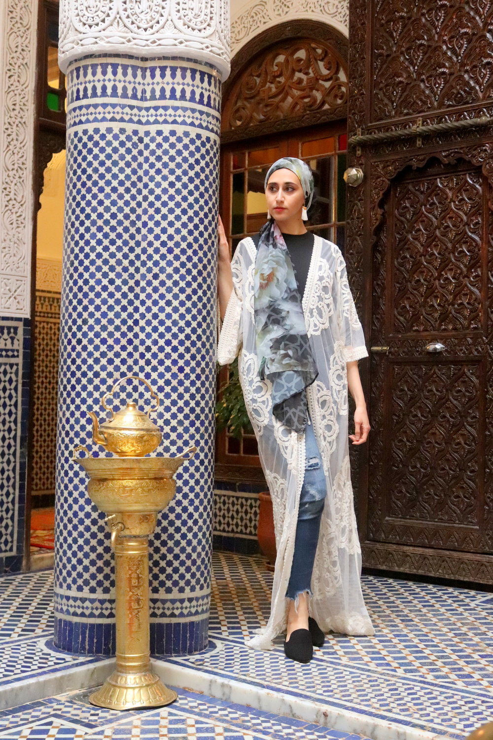 fez-morocco what to wear in morocco , morocco outfits karama by hoda arabesque scarf, moroccan scarf, arabesque lifestyle, boho chic boho outfit, geometric scarf mosaic scarf moroccan decor morocco decor nyc