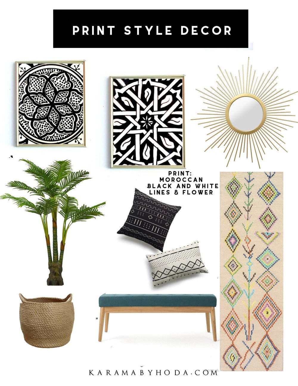 Moroccan Decor Black and White- Print Style Decor- Karama by Hoda.jpg