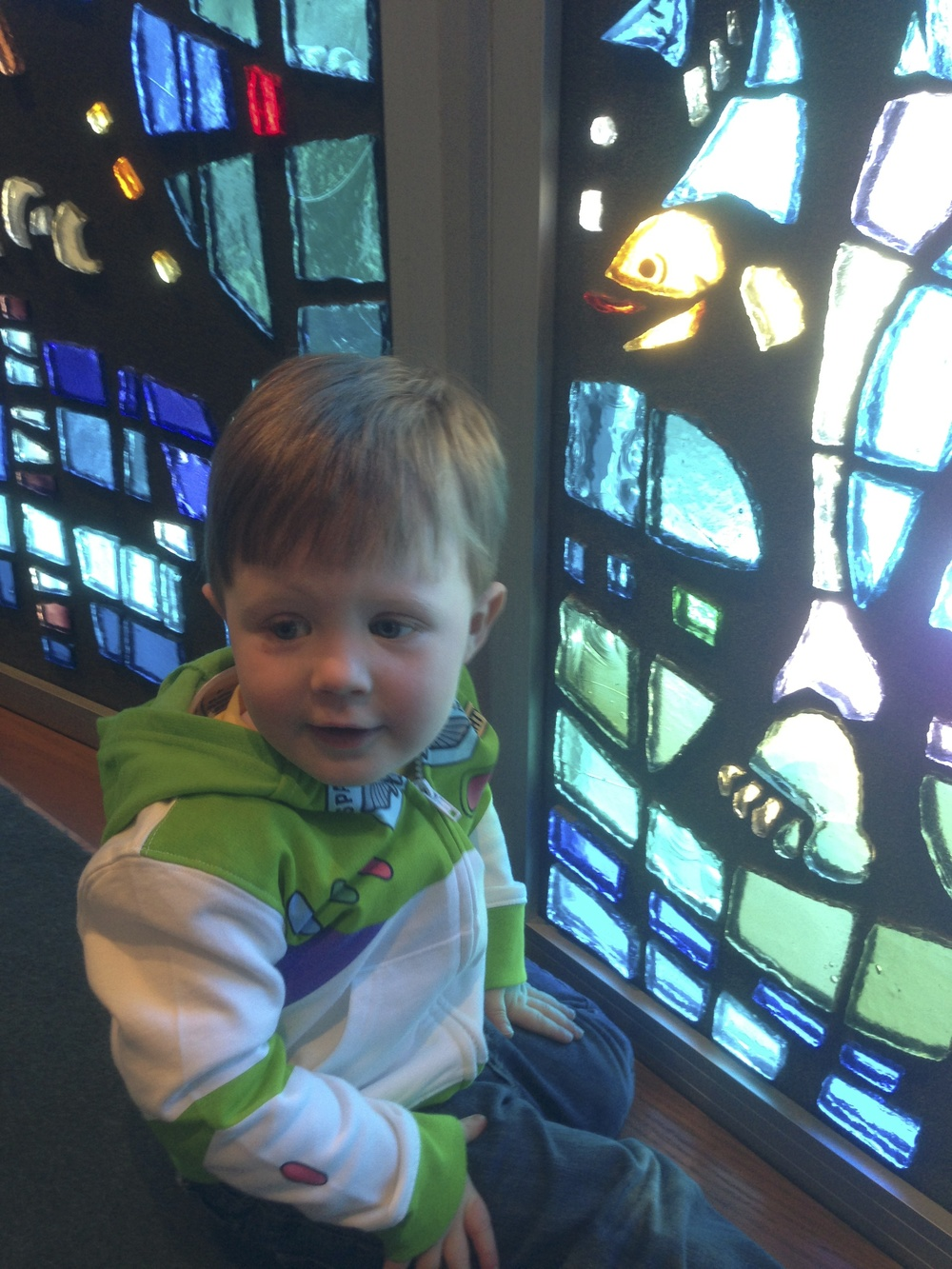Looking at the fish when he was two and a half.