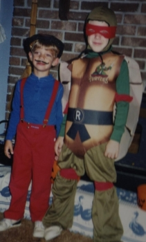 Not Flash and technically not a superhero and not even the best Ninja Turtle, but a pair of costumed do-gooders nonetheless. Oh, and that's my brother Taylor as Mario. I'm sure he greatly appreciates me for putting this up on the internet.