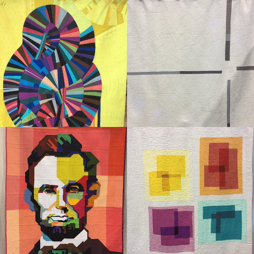 """Clockwise from top left: """"Madonna"""" by Brittany Bowen Burton, """"Emanuel: At the Intersection of Hate and Guns"""" by Thomas Knauer, """"Transparency Quilt 1"""" by Melissa Everett, """"Lincoln"""" by Kim Soper"""