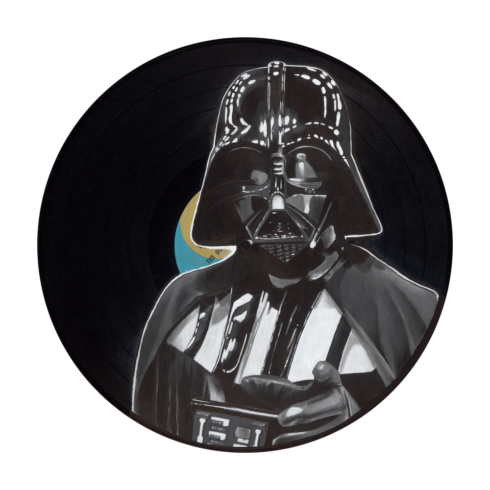 "The Dark Side (2015)  Spray paint and acrylic on vinyl   12"" x 12""  Private Collection"