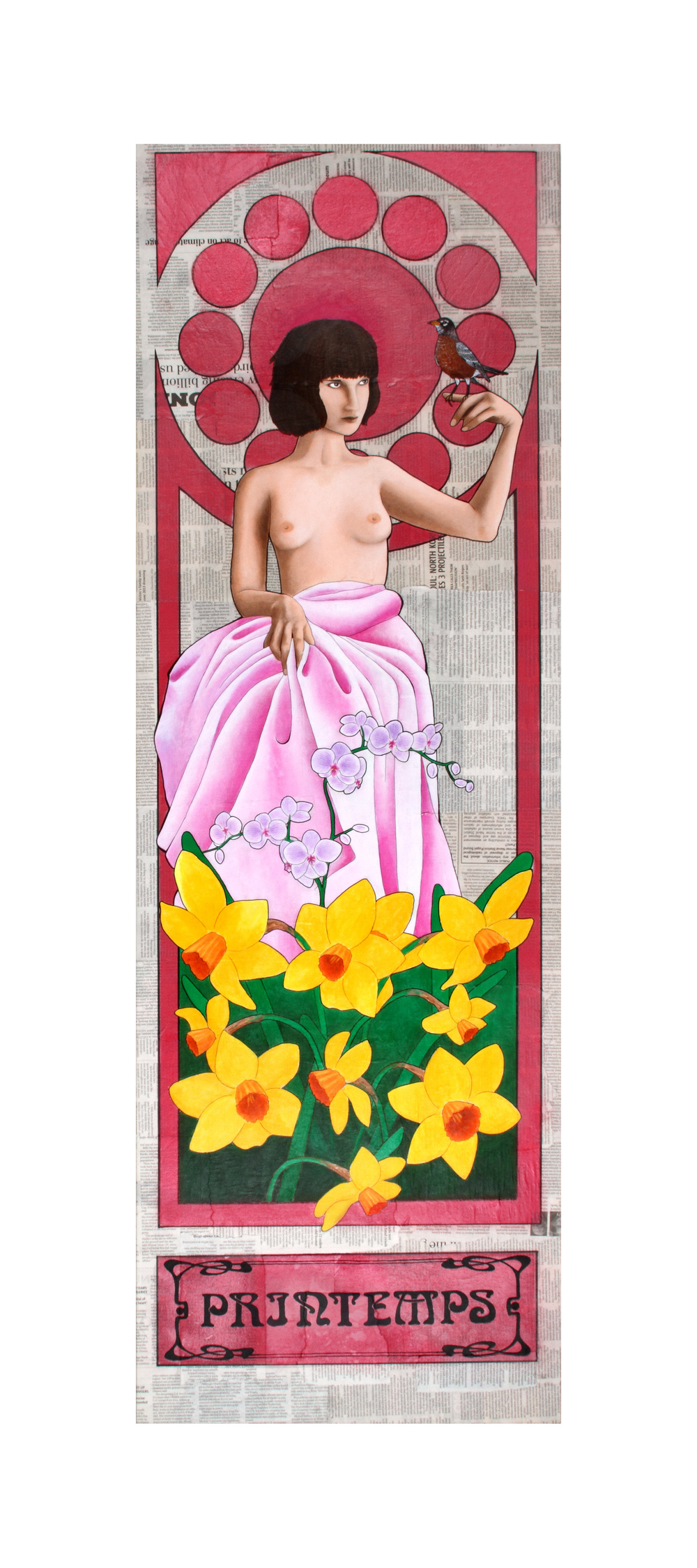 """Printemps (2014)  1 of 4  Four Seasons   Acrylic and Sharpie on newsprint and canvas  20"""" x 60""""  Private Collection"""
