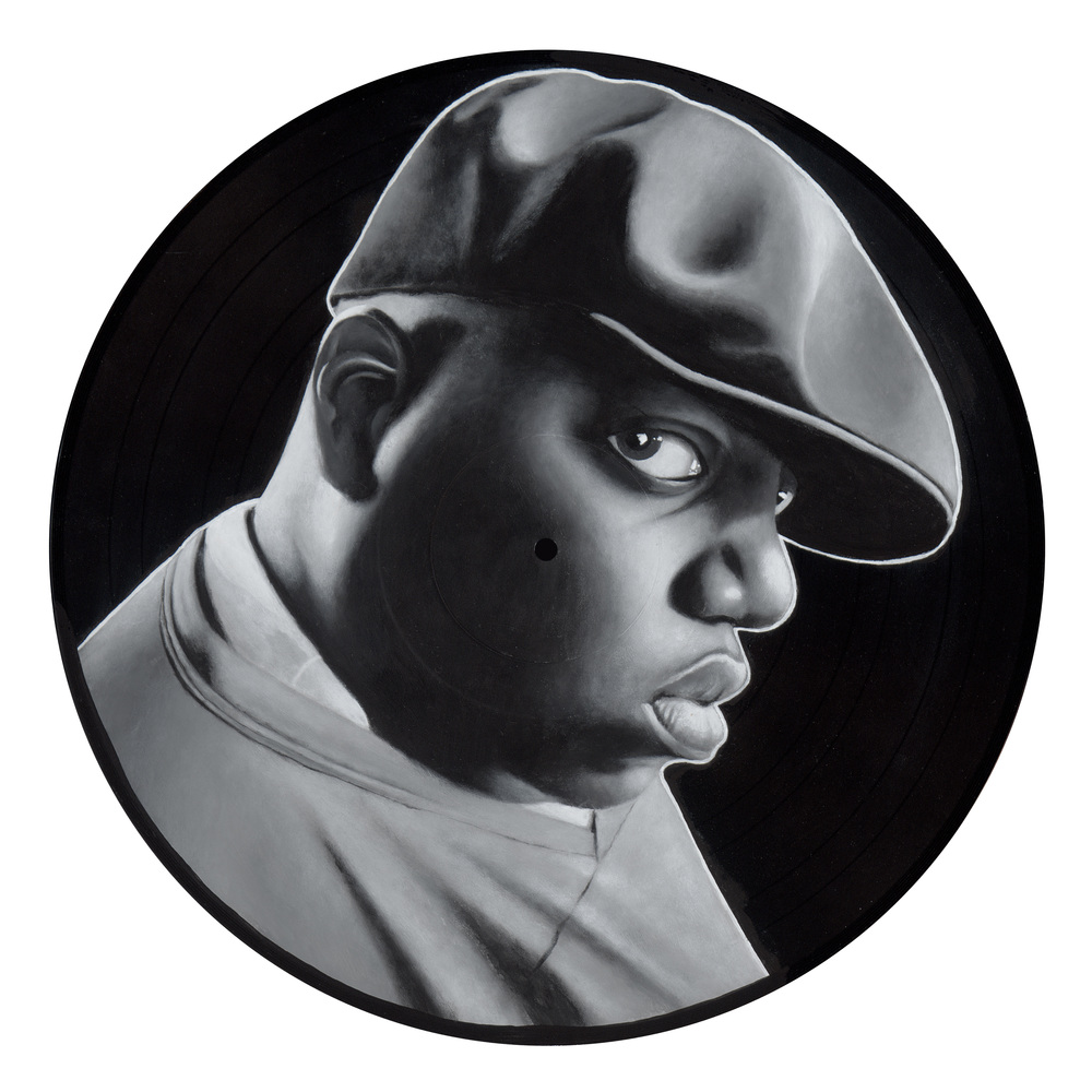 "Notorious (2015)  Spray paint and acrylic on vinyl   12"" x 12"""